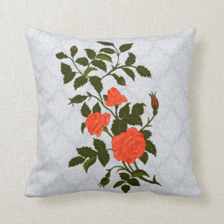 Ornamental Orange Roses on Lacey Background Throw Pillow