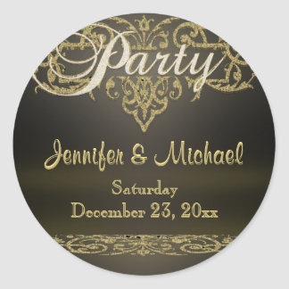 Ornamental Party Classic Round Sticker