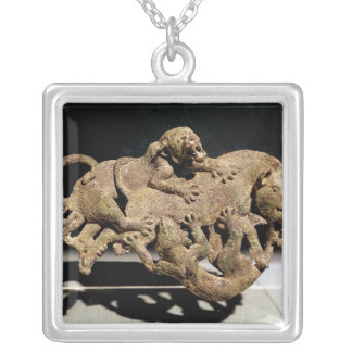 Ornamental plaque depicting a wild boar silver plated necklace