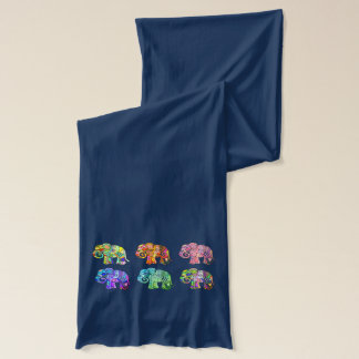 Ornamental psychedelic rainbow color elephants scarf