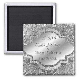 Ornamental Silver Glitter Save the Date Magnet