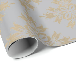 Ornamental  Silver Gray Metallic Gold Faux Sepia Wrapping Paper