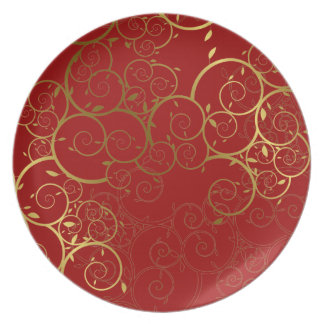 Ornamental Spiral Gold Vines Pattern Deco Plate