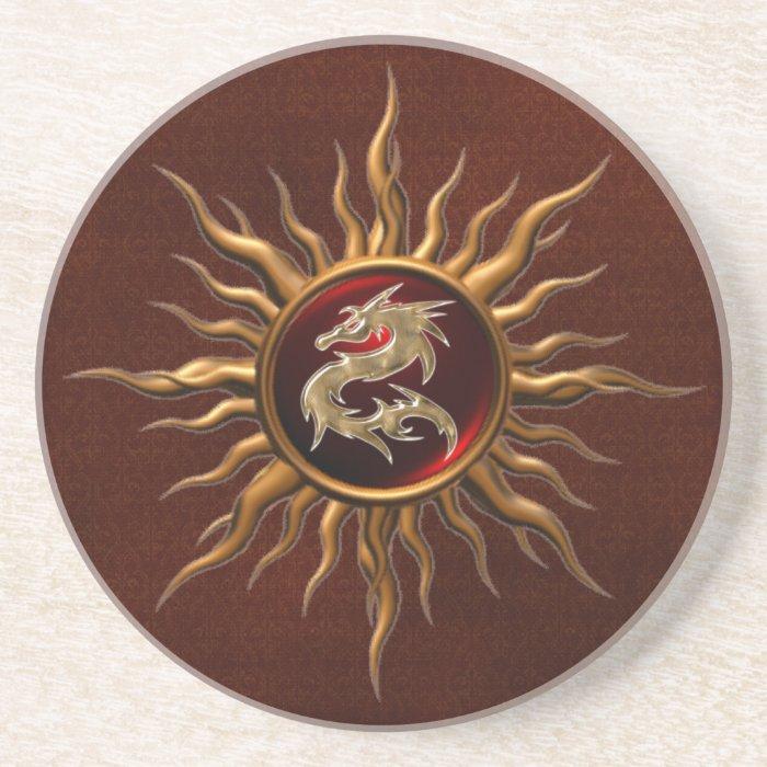 Ornamental Sun Dragon Coasters