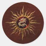Ornamental Sun Dragon Round Sticker
