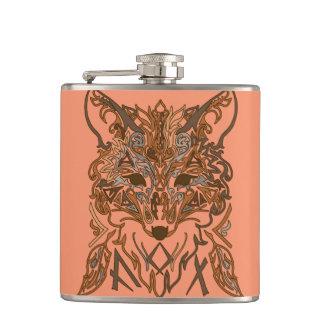 Ornamental tribal style fox silhouette flask