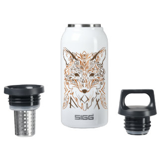 Ornamental tribal style fox silhouette insulated water bottle