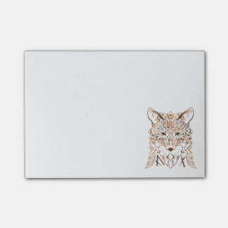 Ornamental tribal style fox silhouette post-it® notes