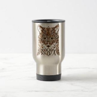 Ornamental tribal style fox silhouette travel mug