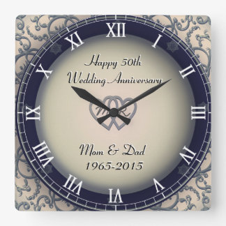 Ornamental Wedding Anniversary Square Wall Clock