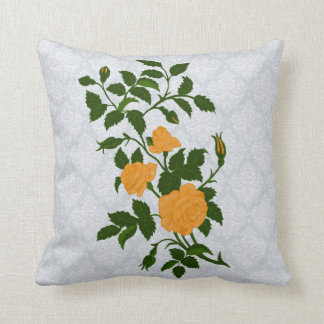 Ornamental Yellow Roses on Lacey Background Throw Pillow