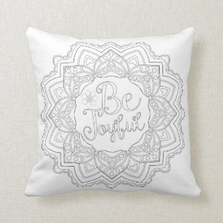 OrnaMENTALs #0022 Be My Mandalatine Colour Your Throw Pillow