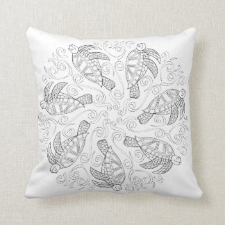 OrnaMENTALs #0026 Sea Turtle Splash Color Your Own Throw Pillow