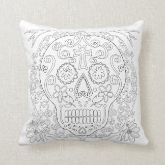 OrnaMENTALs #0028b Sugar Skulls Color Your Own Throw Pillow