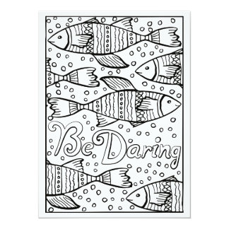 "OrnaMENTALs Be Daring Fish Color Your Own 5.5"" X 7.5"" Invitation Card"