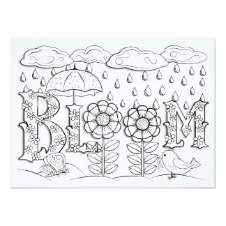 """OrnaMENTALs Bloom Flowers and Rain Color Your Own 5.5"""" X 7.5"""" Invitation Card"""
