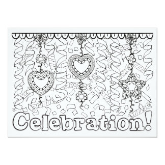 "OrnaMENTALs Celebration Streamers Color Your Own 5.5"" X 7.5"" Invitation Card"
