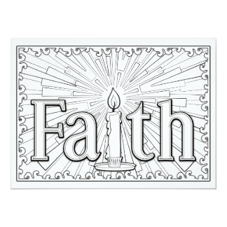 """OrnaMENTALs Faith Candle Glow Color Your Own 5.5"""" X 7.5"""" Invitation Card"""