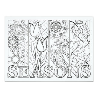 """OrnaMENTALs Four Seasons Color Your Own 5.5"""" X 7.5"""" Invitation Card"""