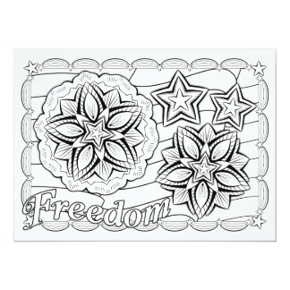 "OrnaMENTALs Freedom Stars & Stripes Color Your Own 5.5"" X 7.5"" Invitation Card"