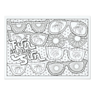 """OrnaMENTALs Fun in the Sun Color Your Own 5.5"""" X 7.5"""" Invitation Card"""