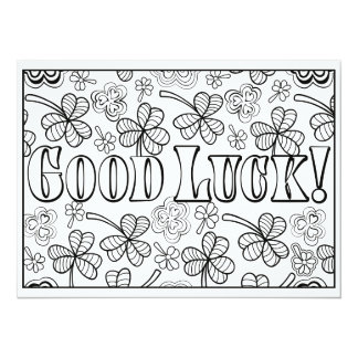 """OrnaMENTALs Good Luck Shamrocks Color Your Own 5.5"""" X 7.5"""" Invitation Card"""