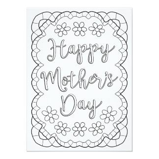 "OrnaMENTALs Happy Mother's Day Color Your Own 5.5"" X 7.5"" Invitation Card"