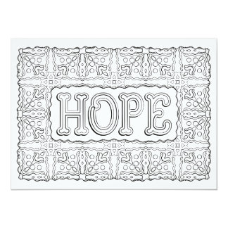 "OrnaMENTALs Hope Floral Pattern Color Your Own 5.5"" X 7.5"" Invitation Card"