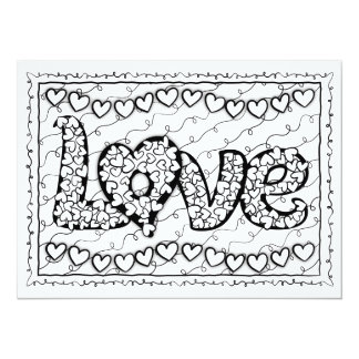 "OrnaMENTALs Love and Hearts Color Your Own 5.5"" X 7.5"" Invitation Card"