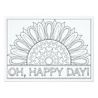 """OrnaMENTALs Oh Happy Day Whimsical Color Your Own 5.5"""" X 7.5"""" Invitation Card"""