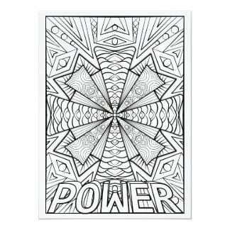 "OrnaMENTALs Power Geometric Mandala Color Your Own 5.5"" X 7.5"" Invitation Card"