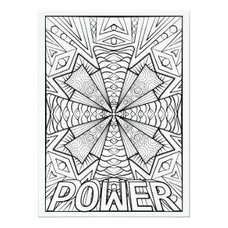 "OrnaMENTALs Power Geometric Mandala Color Your Own 5.5"" X 7.5"" Invitation Card"