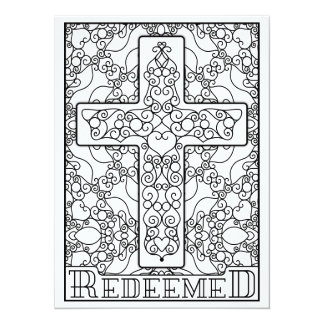 "OrnaMENTALs Redeemed Cross Color Your Own 5.5"" X 7.5"" Invitation Card"