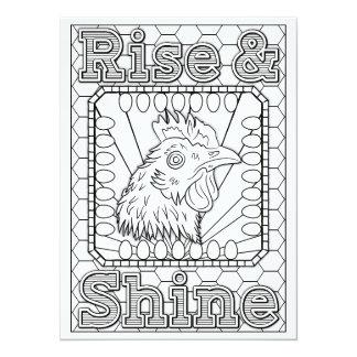 """OrnaMENTALs Rise & Shine Chicken Color Your Own 5.5"""" X 7.5"""" Invitation Card"""