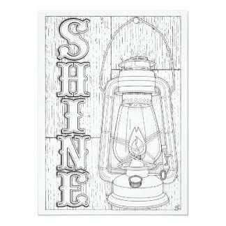 """OrnaMENTALs Shine Antique Lantern Color Your Own 5.5"""" X 7.5"""" Invitation Card"""