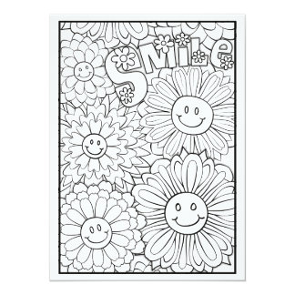 "OrnaMENTALs Smile Happy Flowers Color Your Own 5.5"" X 7.5"" Invitation Card"