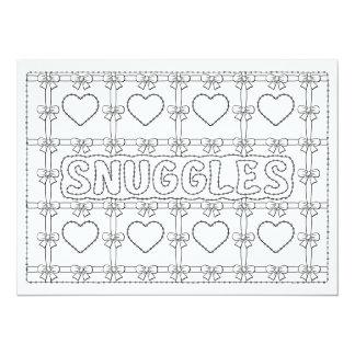 "OrnaMENTALs Snuggles Hearts Bows Color Your Own 5.5"" X 7.5"" Invitation Card"