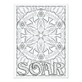 "OrnaMENTALs Soar Birds Mandala Color Your Own 5.5"" X 7.5"" Invitation Card"