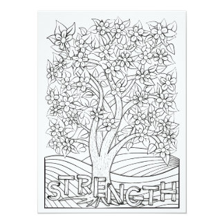 "OrnaMENTALs Strength Blooming Tree Color Your Own 5.5"" X 7.5"" Invitation Card"