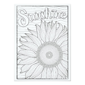 "OrnaMENTALs Sunshine Sunflower Color Your Own 5.5"" X 7.5"" Invitation Card"