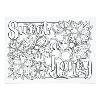 "OrnaMENTALs Sweet as Honey Bees Color Your Own 5.5"" X 7.5"" Invitation Card"