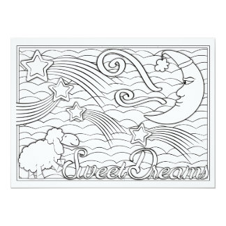 "OrnaMENTALs Sweet Dreams Color Your Own 5.5"" X 7.5"" Invitation Card"