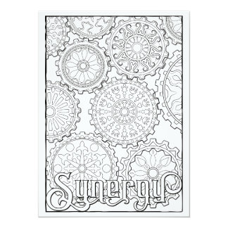 "OrnaMENTALs Synergy Gears Steampunk Color Your Own 5.5"" X 7.5"" Invitation Card"