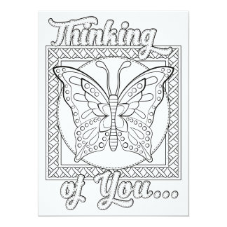"OrnaMENTALs Thinking of You Color Your Own 5.5"" X 7.5"" Invitation Card"
