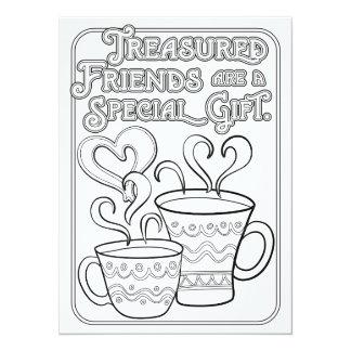 """OrnaMENTALs Treasured Friends Color Your Own 5.5"""" X 7.5"""" Invitation Card"""