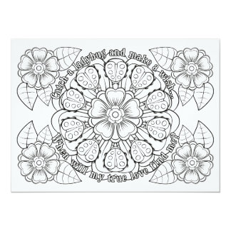 "OrnaMENTALs True Love Ladybugs Color Your Own 5.5"" X 7.5"" Invitation Card"