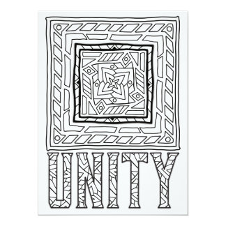 "OrnaMENTALs Unity Abstract Doodle Color Your Own 5.5"" X 7.5"" Invitation Card"