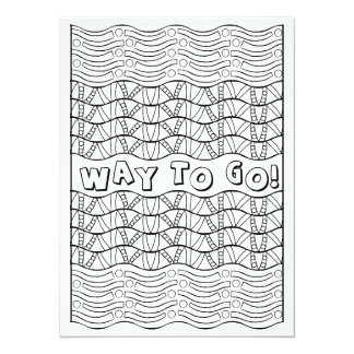 "OrnaMENTALs Way To Go Fun Doodle Color Your Own 5.5"" X 7.5"" Invitation Card"