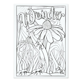 """OrnaMENTALs Wonder Ants and Flowers Color Your Own 5.5"""" X 7.5"""" Invitation Card"""