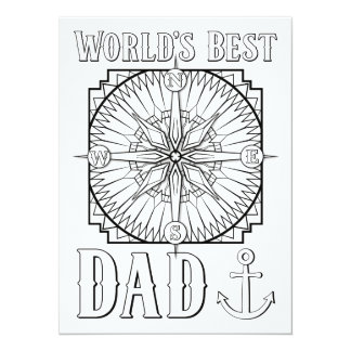 "OrnaMENTALs World's Best Dad Color Your Own 5.5"" X 7.5"" Invitation Card"